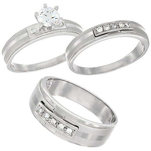 Sterling Silver Zirconia Engagement Wedding