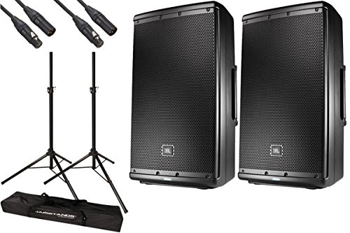 "2x JBL EON612 EON 612 1000 Watt Powered 12"" Active Speaker + Bag Case w/Wheels"