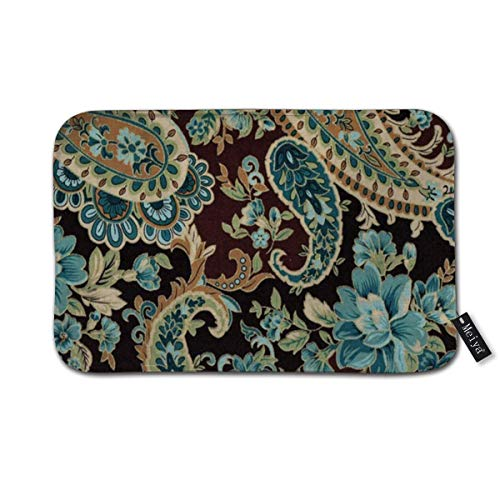 Brown Turquoise Paisley Doormat Floor Mat with Non-Slip Backing Bath Mat Rug Funny Home Decor 23.6