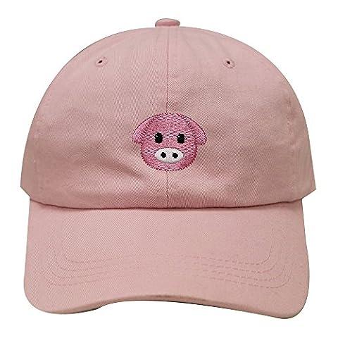City Hunter C104 Pig Emoji Cotton Baseball Dad Cap 19 Colors (Pink) - Pink Pig Hat