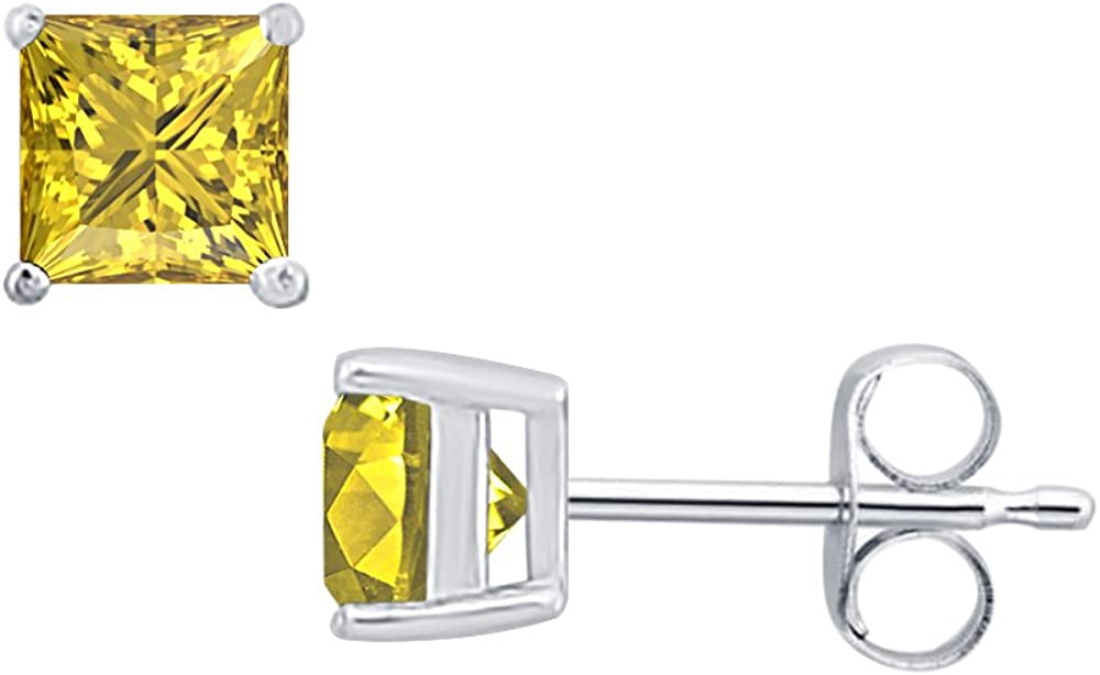 3MM Princes Cut Created Gemstones Solitaire Stud Earrings 14K White Gold Over .925 Sterling Silver