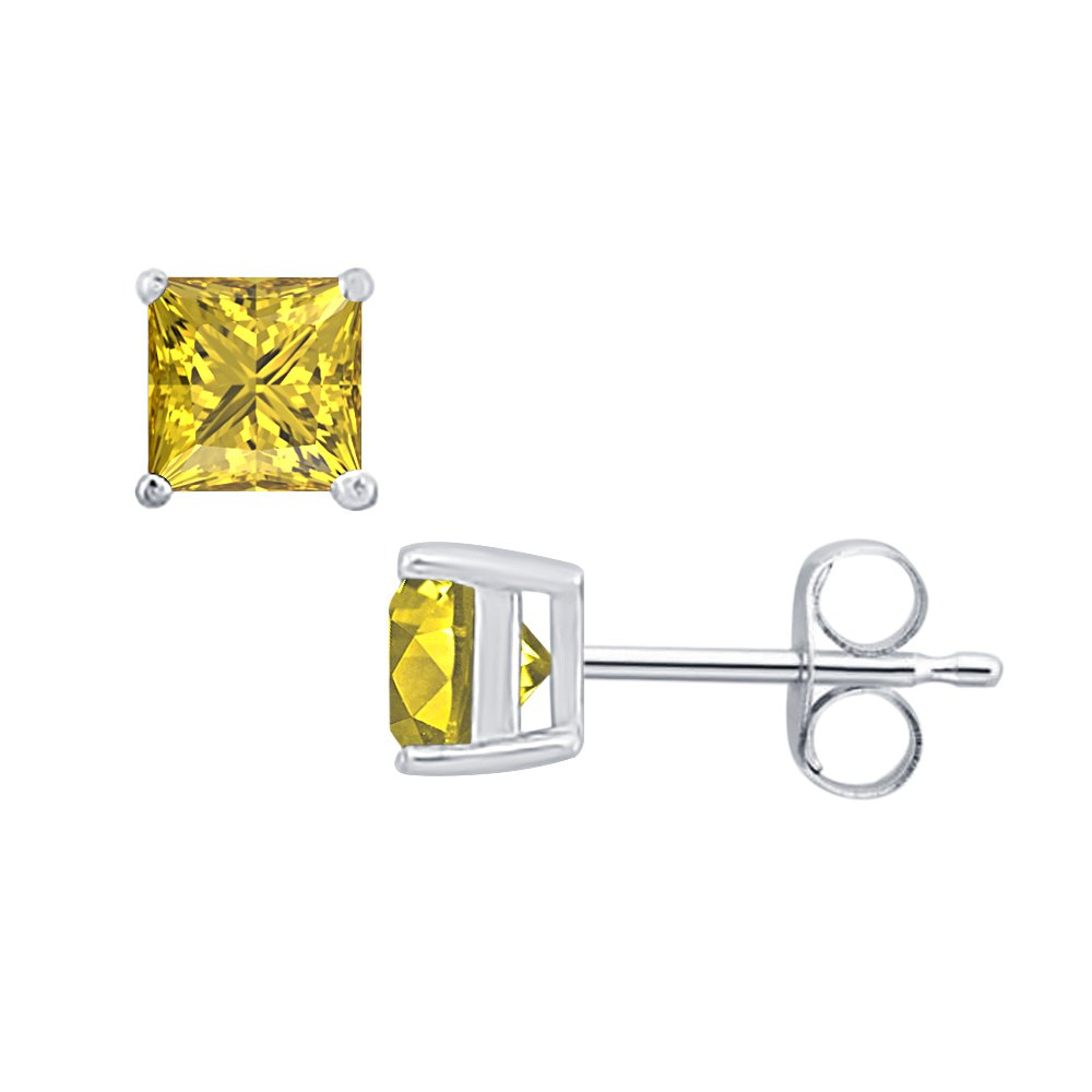 Princess Cut Yellow Sapphire Solitaire Stud Earrings 14K White Gold Over .925 Sterling Silver For Womens /& Girls SVC-JEWELS 6MM
