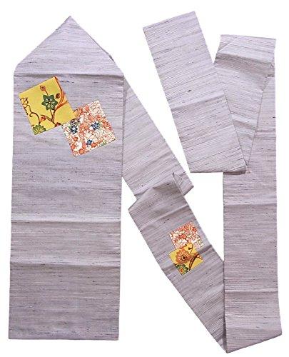 近々繊毛カウンターパートリサイクル 名古屋帯  流水や花模様 型染め調 紬 正絹