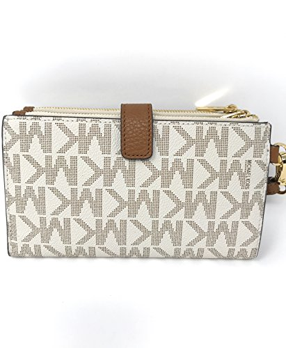 Michael Kors Jet Set Travel double Zip Wristlet - Vanilla/Acorn