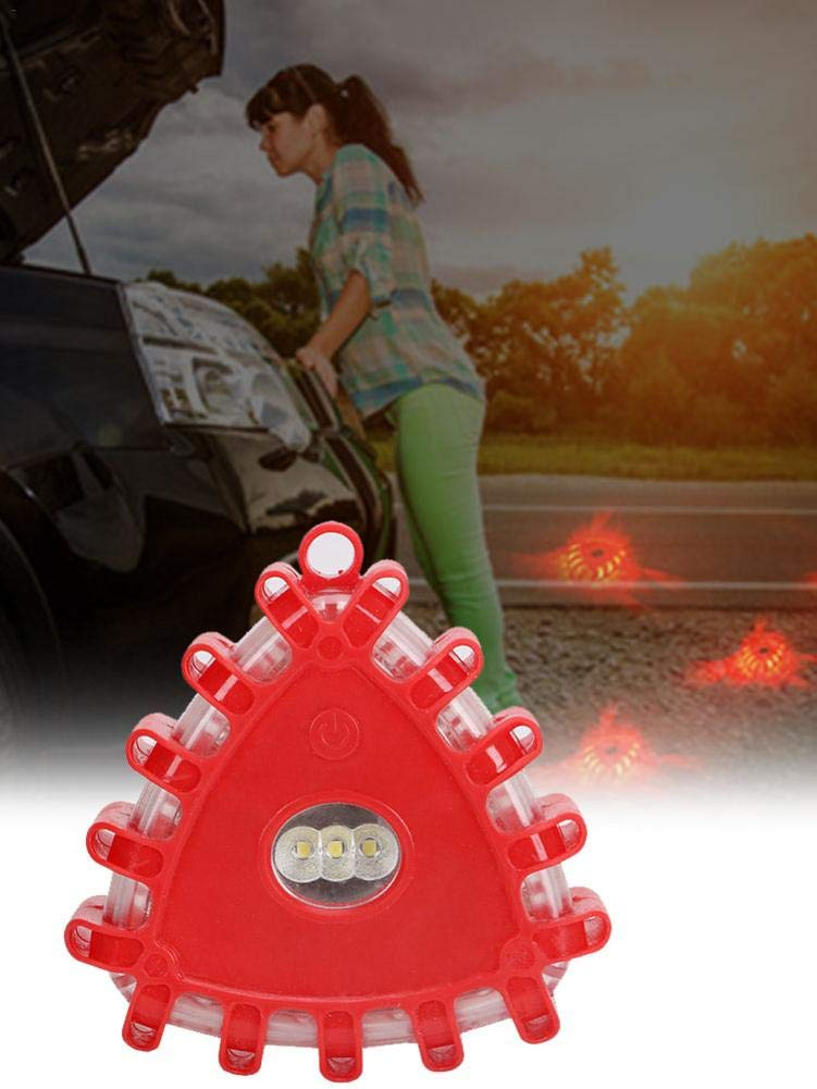 YakeHome LED Road Light Emergency Roadside Safety Beacons Flashing Warning Light with Magnetic Base and Hook for Car Truck Boat security enjoyment Included 2 x AAA Batteries