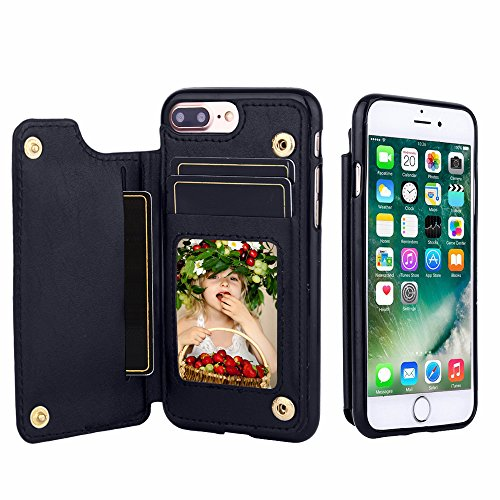 CSTOP ZOOM Series, iPhone 7 Plus Wallet Case, 3 ID Credit Card Slot, Cash Slot, Button Snap, Flip-Out Back Leather Drop Protection Case For iPhone 7 Plus (5.5 Inch) - Navy Blue