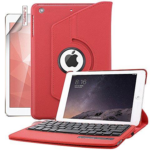 iPad Mini Keyboard Case, Boriyuan Detachable Wireless Bluetooth Keyboard PU Leather Cover with 360 Degree Rotating Stand and Screen Protector + Stylus for Apple iPad Mini 1/Mini 2/Mini 3, Red
