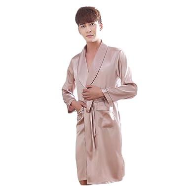 DAFREW Silk Nightgown Bademäntel für Herren Bademantel Satin Robe ...