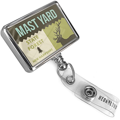 Retractable ID Badge Holder Reel National US Forest Mast Yard State Forest with Bulldog Belt Clip On - Reel Mast