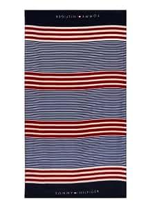 Tommy Hilfiger Stripe Beach Towel, Red/White/Blue(Old Pattern)