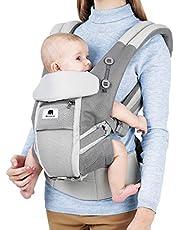 Meinkind Porte-bébé/Porte Bébé Physiologique/Porte Bébé Dorsal avec capuchon pour porte-bébé de 3,5 à 15 kg pour 3 porte-bébés, gris