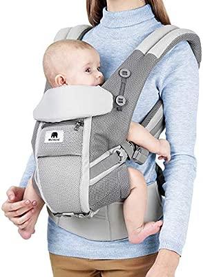 Meinkind Mochila Portabebe Ergonomica Multifunción, para Bebé 3-20 kg, Algodón Transpirable y Ligero, con Reposacabeza Plegable y Tirantes Flexibles, ...