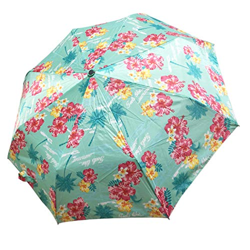 Lilac Mini Compact Travel Umbrella, Manual Open Close Windproof Waterproof Cute Umbrellas with Tropical - Manual Umbrella
