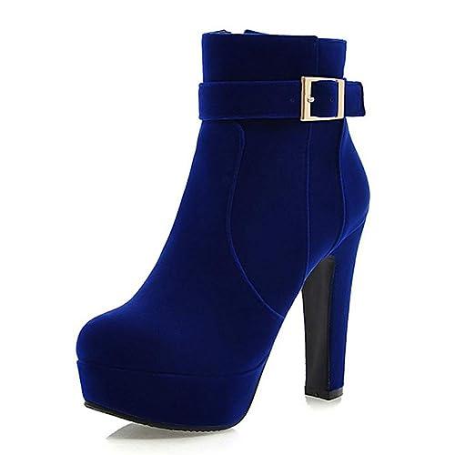 Mujeres Flock Western Boots Botines De Fiesta De Moda Tacones Altos Y  Delgados Plataformas Altas Invierno Nieve Botas CáLidas De Felpa   Amazon.es  Zapatos y ... 95d80df563e6