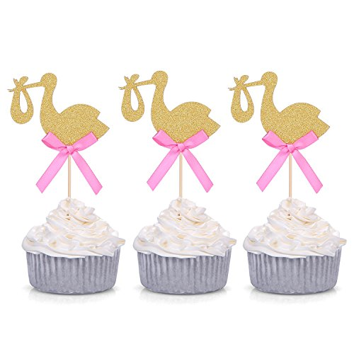 12 PCS Golden Stork Baby Shower Cupcake Toppers - by Giuffi (Stork Pick)