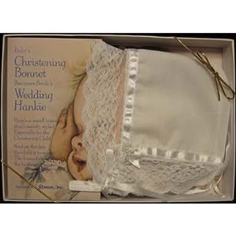 Christening Bonnet turns into Wedding Hankie Baptism Dedication hanky