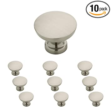Franklin Brass P29523K-SN-B Flat Top Round Knob, 1-3/16 Inches (30mm), Brushed Nickel, 10 Piece