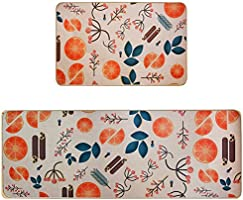 Kitchen Rugs Set-2 Piece Cushioned Soft Non-Slip Rubber Back Kitchen Floor Mats Standing Anti-Fatigue Washable Runner...