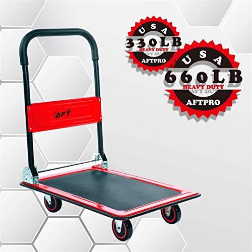 (Push Cart Dolly AFT PRO USA Push Platform Truck Folding Rolling Flatbed Cart 360 Degree Swivel Wheels Foldable Handle (RED, 660LB))