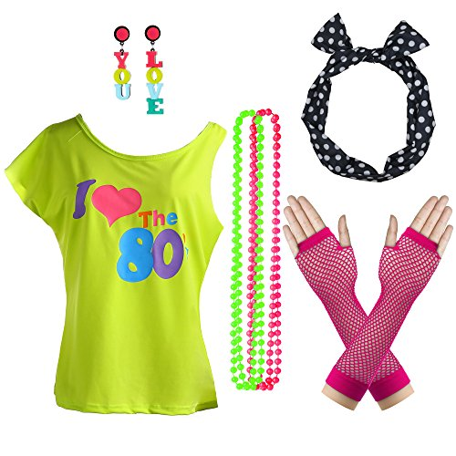 Women's 80's Off Shoulder T Shirt Costume Set