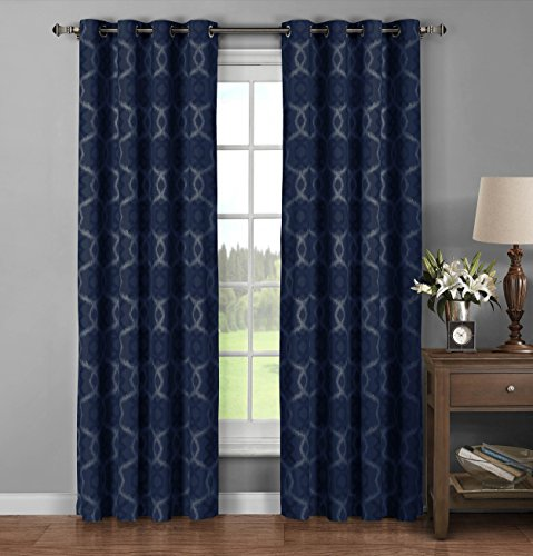 window elements avila printed 100 cotton extra wide grommet curtain panel pair 104 by 96. Black Bedroom Furniture Sets. Home Design Ideas