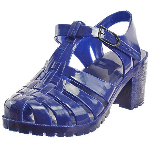 Sopily freio Brilhante Sandálias Sapatos Femininas Da Aberto Multi Moda Azul z4Hwzx