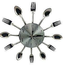 Zehui DIY Stainless Steel Knife Fork Spoon Analog Wall Clock, Home Kitchen Decoration Quartz Movement Mute Wall Clocks