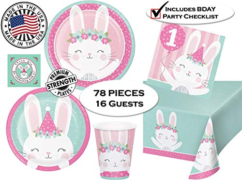 1st Birthday Girl Bunny Party Supplies for 16 Guests - Dinner & Dessert Plates, Napkins, Cups, Tablecover, Thank You Stickers & Checklist - 78 Pieces - Made in The USA