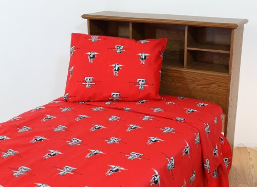 (College Covers Texas Tech Red Raiders Printed Sheet Set - Twin X-Large - Solid)