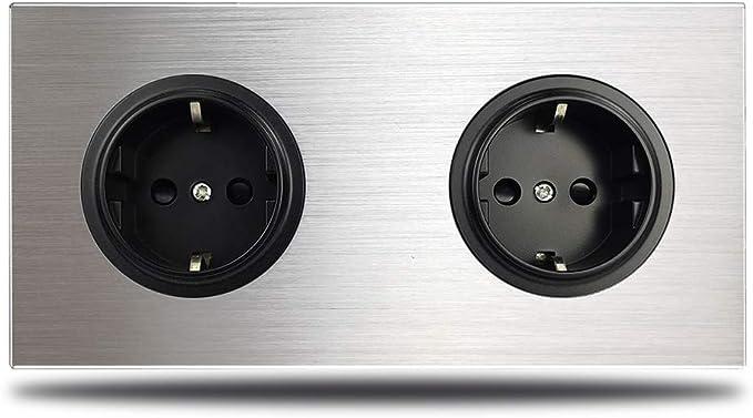 SILENTLY Wallpad Gris 2 Alturas de Doble Pared de la UE eléctrico del Enchufe de zócalo del Enchufe de Plata Alemana Aluminio Cepillado Panel de Doble Placa 172 * 86 mm,Negro: Amazon.es: Hogar