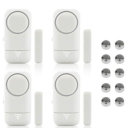 Shackcom 4pcs Alarma para Puertas y Ventanas de 120 dB con Sensor Magnético Inalámbrico para Sistema de Seguridad para el hogar y Seguridad Infantil - ...