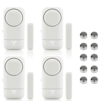Shackcom 4pcs Alarma para Puertas y Ventanas de 120 dB para casa con Sensor Magnético Inalámbrico para Sistema de Seguridad para el hogar y Seguridad ...