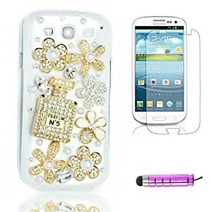 GOG-S-Type Crystal Flowers Plastic Phone Shell +HD Film + Mini Stylus 3 in1 for Samsung Galaxy S3 i9300