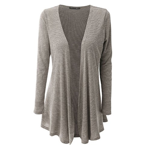 YAOYUE-US Women's Open-Front Cascade Detail Draped Cardigan Cotton Long Sleeve Kinted Sweater (Tag XL, Light Grey)