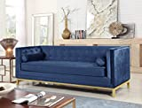 Iconic Home Dafna Club Sofa Sleek Elegant Tufted Velvet Plush Cushion Brass Finished Stainless Steel Brushed Metal Frame Couch, Modern Contemporary, Navy