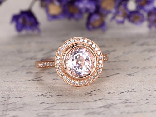(Pink Morganite Halo Engagement Ring Solid 14k Rose Gold 8mm Round Cut Gemstone Diamond Antique Bezel Wedding Ring Bridal Promise Anniversary Gift Set Retro Dainty Natural)