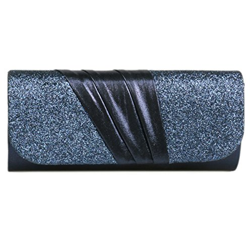 Bag Evening Pleated Splice Damara Blue Women's Glitter Detail Dark FqYgzHx