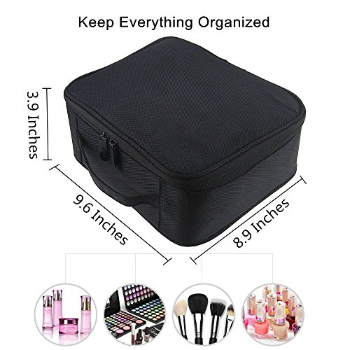 Portable-Travel-Makeup-Bag-FLYMEI-Waterproof-Makeup-Train-Case-Cosmetic-Organizer-Make-Up-Artist-Storage-for-Cosmetics-Makeup-Brushes-Jewelry-Toiletry-and-Travel-Accessories-Black