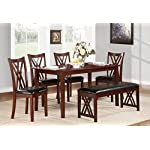 Homelegance HO-2459 Brooksville 6 Piece Dining Table Set with Bench, Cherry