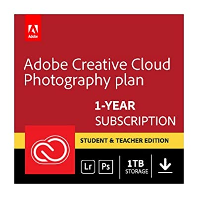 Adobe Creative Cloud Photography plan with 1TB Student and Teacher | 1 Year Subscription (Mac Download)
