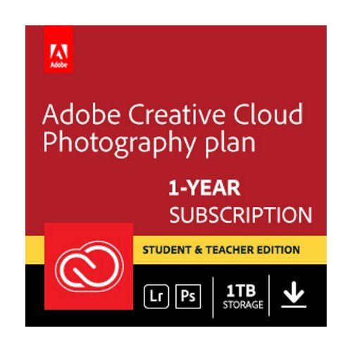 Adobe Creative Cloud Photography plan with 1TB Student and Teacher | 1 Year Subscription (PC Download) by Adobe