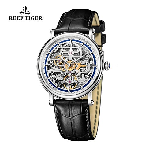 Reef Tiger Business Vintage Watches for Men Ultra thin Skeleton Dial Calfskin Leather Strap Watch RGA1917 by REEF TIGER (Image #1)