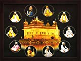 Ten Sikh Gurus sitting around Golden temple, A Sikh Religious Poster Painting with frame for Sikh Religious Office / Home