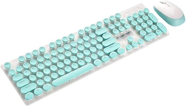 Solustre teclado inalámbrico retro teclado redondo teclado ...
