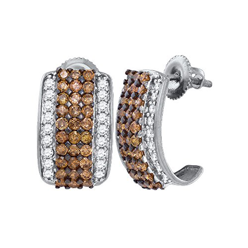 10kt White Gold Womens Round Cognac-brown Colored Diamond Stud Earrings 1-7/8 Cttw (I2-I3 clarity; Brown color)