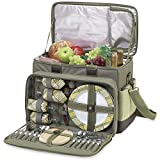 Picnic at Ascot- Ultimate Insulated Picnic Cooler with Service for 4 - Olive Tweed