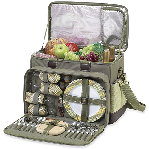 Picnic at Ascot- Ultimate Insulated Picnic Cooler with Service for 4 - Olive