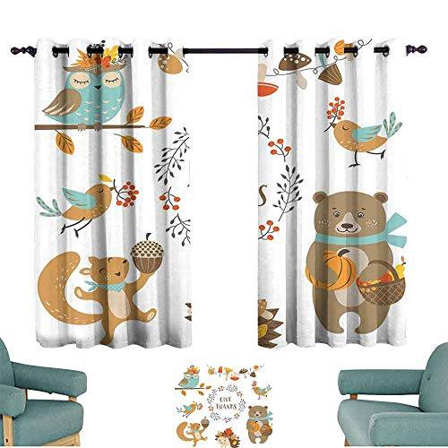 - HCCJLCKS Printed Curtain Kids Thanksgiving Giving Thanks Being Grateful Cartoon Animals Grizzly Bear Wild Mushrooms Privacy Protection W63 xL45 Multicolor