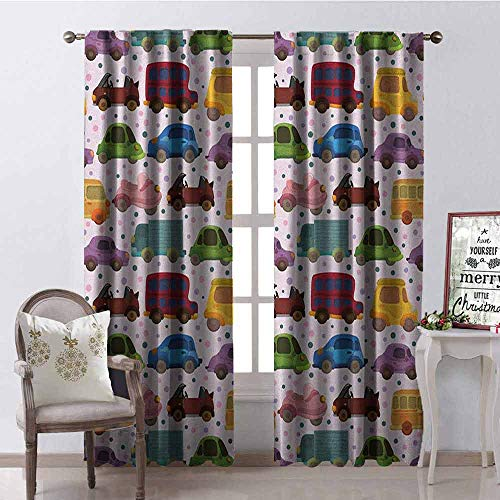 Gloria Johnson Cars Shading Insulated Curtain Cute Cartoon Style Vehicles Double Deckers Vans Roadsters Childish Baby Boy Collection Soundproof Shade W52 x L63 Inch Multicolor