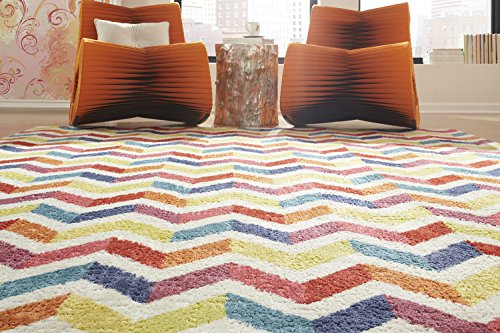 Mohawk Home Strata Mixed Chevrons Prism Striped Printed Area Rug, 7'6x10', Multicolor